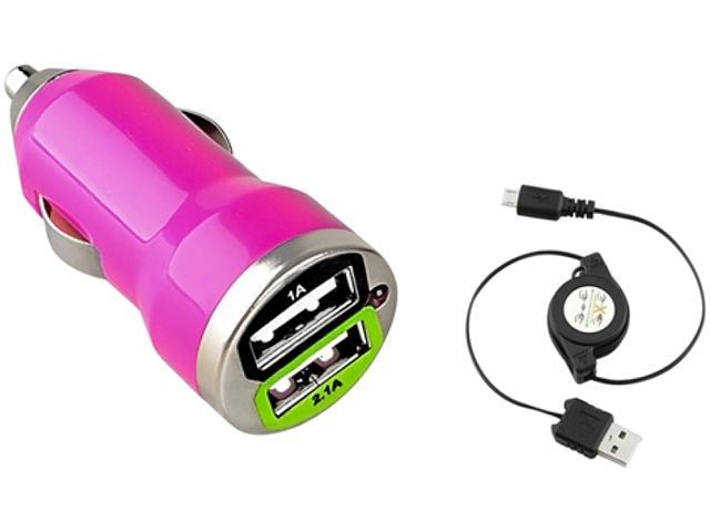 Insten Hot Pink Dual USB Mini Car Charger Adapter with Retractable Micro USB Cable Compatible with Samsung Galaxy Note II N7100