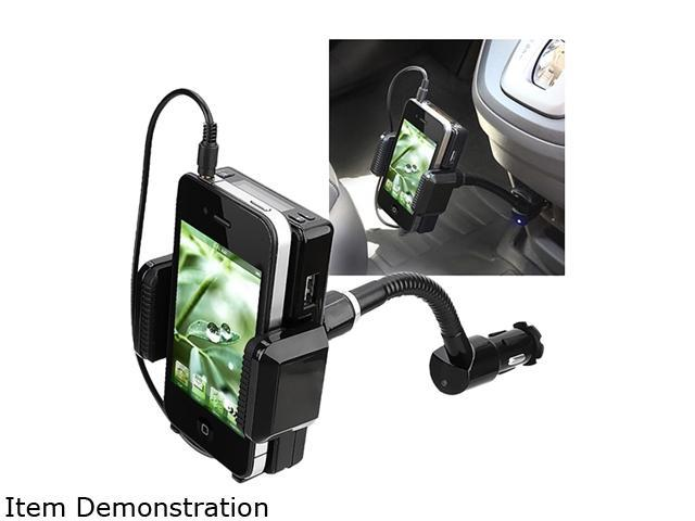 Insten All-in-One FM Transmitter w/ 3.5-mm Audio Cable and Mic compatible with Samsung Galaxy S4 / SIV / i9500, Black