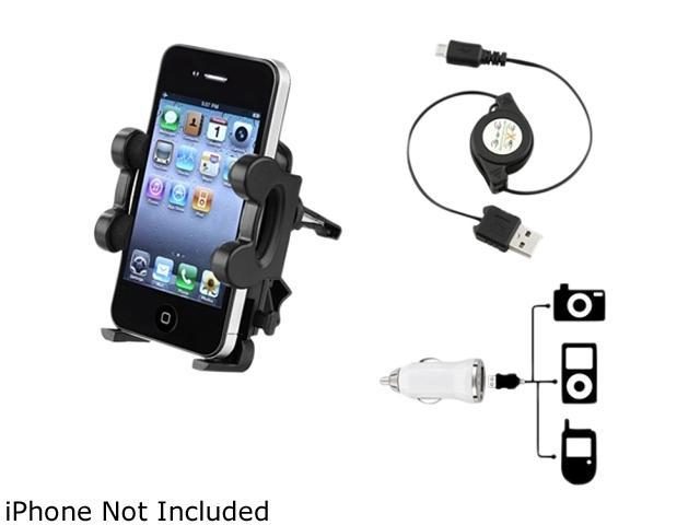 Insten 3-in-1 Air Vent Mount + White Mini DC Charger Compatible with Samsung Galaxy SIV S4 i9500