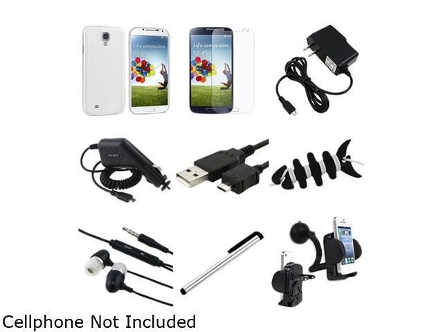 Insten 9-in-1 Clear White Hard Case + Matte Screen Protector + Charger + Mount Compatible with Samsung Galaxy S4 i9500
