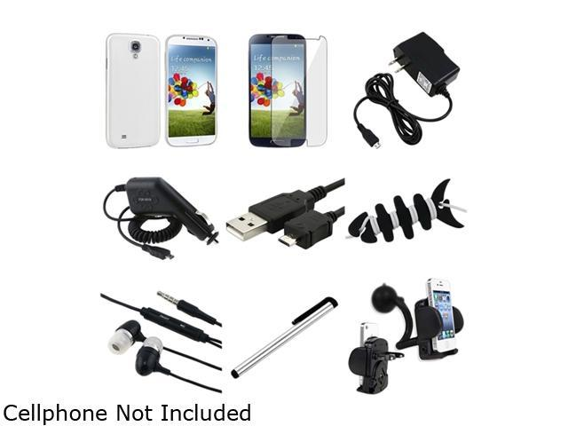 Insten 9-in-1 Clear White Hard Case + Clear LCD Protector + Charger + Mount Compatible with Samsung Galaxy S4 i9500