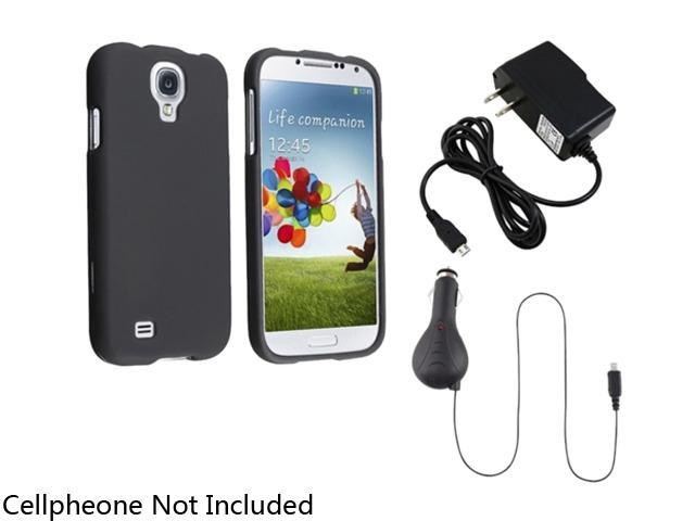 Insten Black Hard Case Cover + Retract Car + AC Wall Charger Compatible with Samsung Galaxy S4 i9500