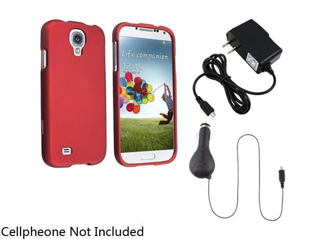 Insten Red Hard Case Cover + Retract Car + AC Wall Charger Compatible with Samsung Galaxy S4 4 i9500