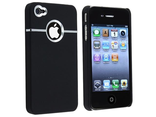 Insten Black Chrome Hole Rubber Coated Case + Car Charger Adapter Compatible With Apple iPhone 4 - AT&T