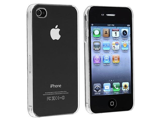 Insten Clear Crystal Back Rear Case + Charger + Windshield Mount For iPhone 4 4th Gen 4G 4s