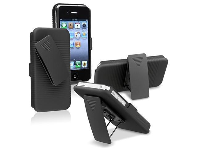 Insten Black Swivel Holster St+ Hard Case + Car Dashboard Mount For iPhone 4 4G 4S