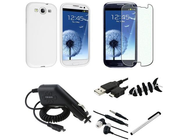 Insten 7pcs Accessory White Case+Diamond LCD+USB+Charger For Samsung Galaxy S3 i9300