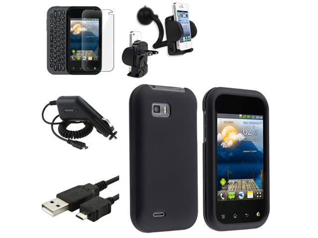 Insten Black Hard Case+Clear LCD+Charger+USB+Car Mount For LG T-Mobile myTouch Q