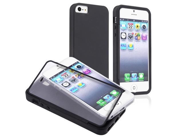 Insten Black / Clear Frosted Cover Book TPU Case + Travel/Wall Charger AND Car Charger Adapter compatible with Apple iPhone 5