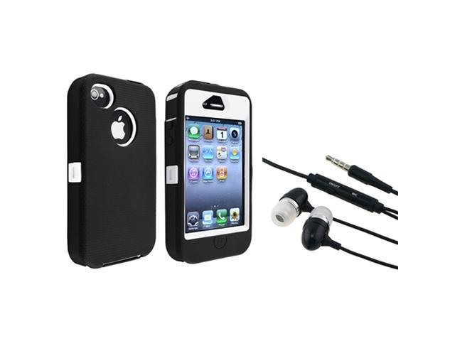 Insten White Hard/ Black Skin Hybrid Case + In-ear (w/on-off) Stereo Headsets compatible with Apple iPhone 4/4s