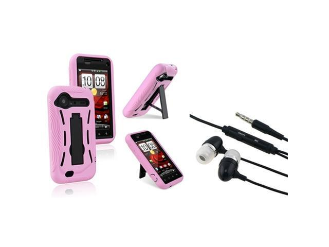 Insten Black Hard/Pink Skin Case Cover + Black Stereo Headset For HTC Droid Incredible 2