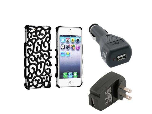 Insten Black Palace Flower Chrome Snap-on Case + Travel/Wall Charger AND Car Charger Adapter compatible with Apple iPhone 5