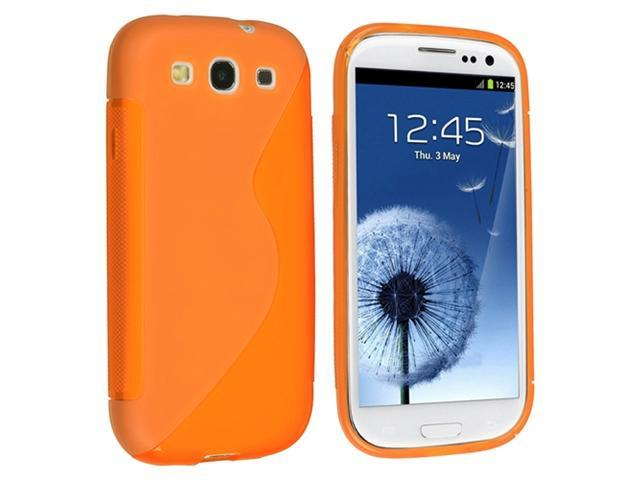 Insten Clear Orange S Shape TPU Rubber Case Cover + Privacy Screen Protector compatible with Samsung Galaxy SIII / S3