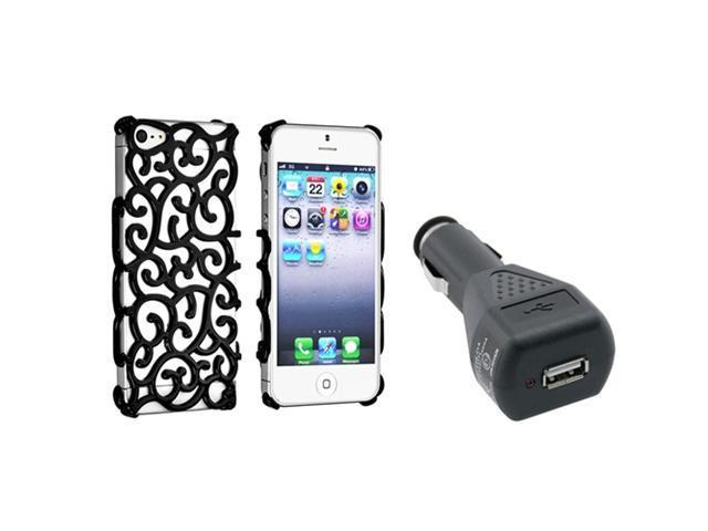 Insten Black Palace Flower Chrome Snap-on Case + Car Charger Adapter compatible with Apple iPhone 5