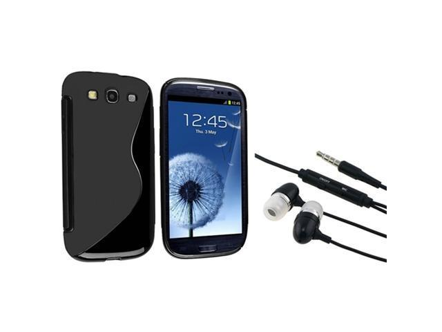 Insten Black S Shape TPU Case + In-ear Stereo Headsets for Samsung Galaxy S 3