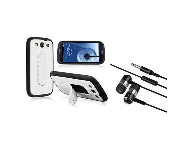 Insten Black TPU/White Hard Spring Stand Hybrid Case + Black In-ear (w/on-off) Stereo Headsets Compatible With Samsung Galaxy S III / S3
