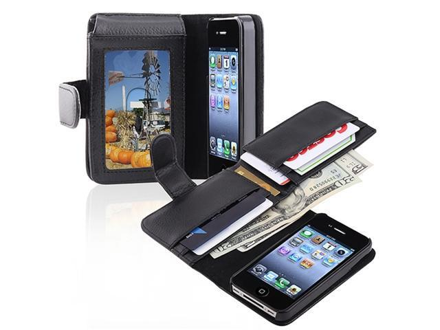Insten Leather Wallet Black Skin Case Cover+Phone Holder Mount For iPhone 4 4G 4S