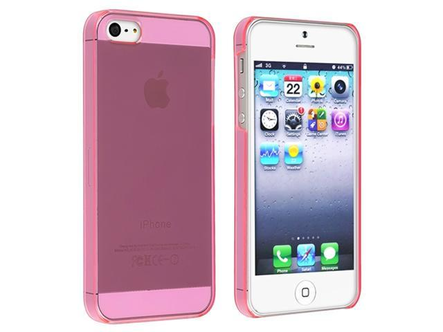 Insten Clear Hot Pink Slim Snap-on Hard Case Cover + Privacy LCD Protective Film Compatible With Apple iPhone 5