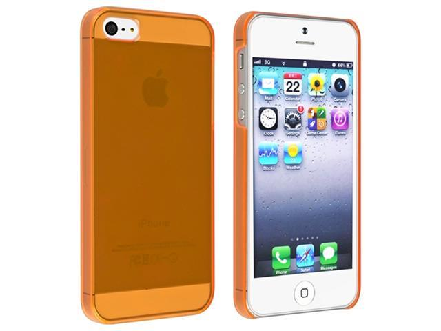 Insten Clear Orange Slim Clip-on Case Cover + Front & Back Screen Protector Compatible With Apple iPhone 5 / 5s 818624