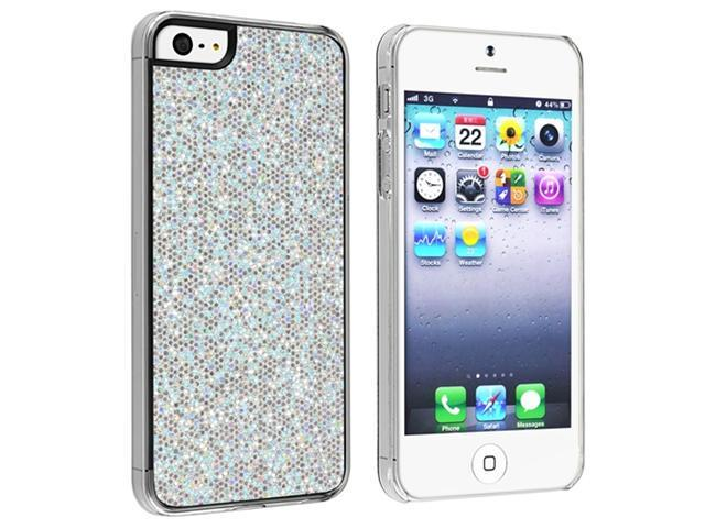 Insten Silver Bling Rear Snap-on Hard Case Cover + Privacy LCD Protective Film Compatible With Apple iPhone 5