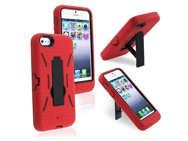 Insten Black / Red Stand Hybrid Case Cover + Privacy LCD Protective Film Compatible With Apple iPhone 5