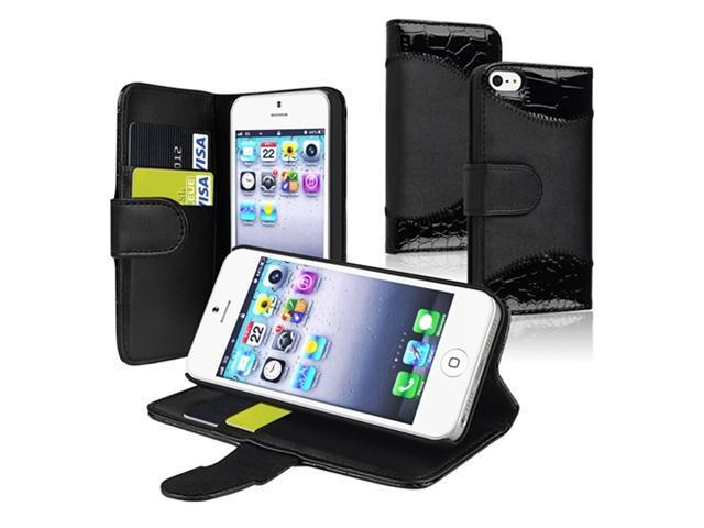 Insten Black Crocodile Skin Card Holder Leather Case Cover + Privacy LCD Protective Film Compatible With Apple iPhone 5