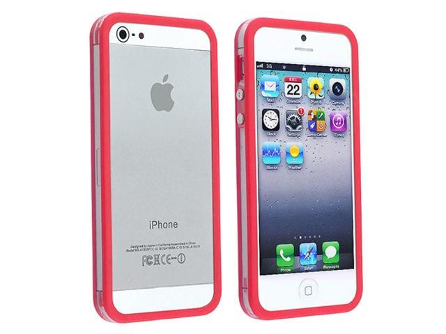Insten Clear / Red Aluminum Button Bumper Case Cover + Privacy LCD Protective Film Compatible With Apple iPhone 5