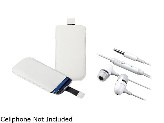Insten White Leather Pouch & White Stereo Headset For Samsung Galaxy S3 817863