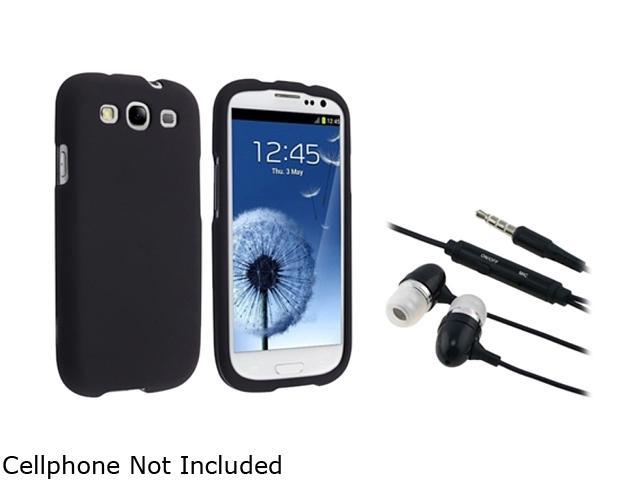 Insten Black Snap-on Rubber Coated Case & Stereo Headset For Samsung Galaxy S3 675026