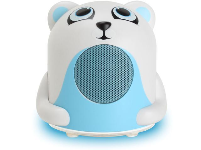 GOgroove Groove Pal Jr. Polar Bear Portable Kids 3.5mm Animal Speaker with Glowing LED Base for iPad, iPod, iPhone, Windows, Android Tablets / ...