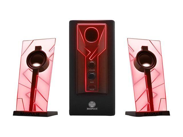 GOgroove BassPULSE Computer Speaker System with Red Pulsing LED Lights, 5W Stereo Satellite Speakers and a 10W Subwoofer - Perfect for Gaming, ...