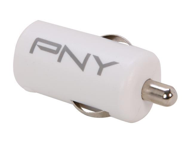 PNY P-P-DC-UF-W01-GE White Rapid Universal USB Car Charger for Smartphones & Apple Devices w/12V DC @ 2.1A