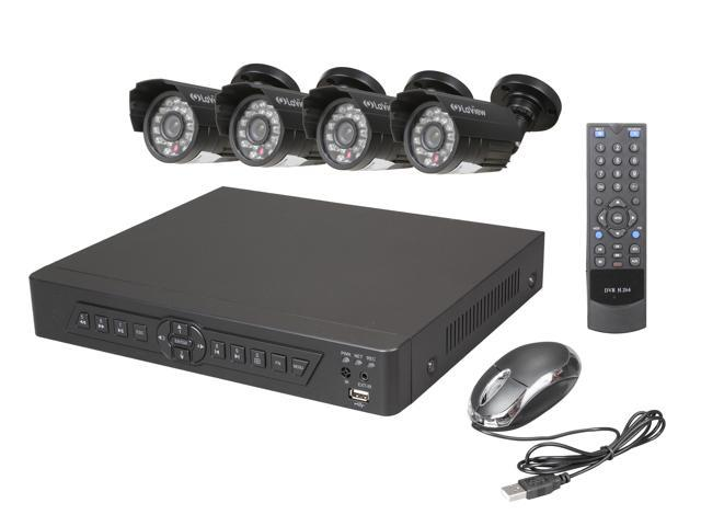 LaView LV-KDV0804B5B Complete 8 Channel Security DVR System Easy DIY Four 520TVL Infrared Surveillance Cameras (No HDD)