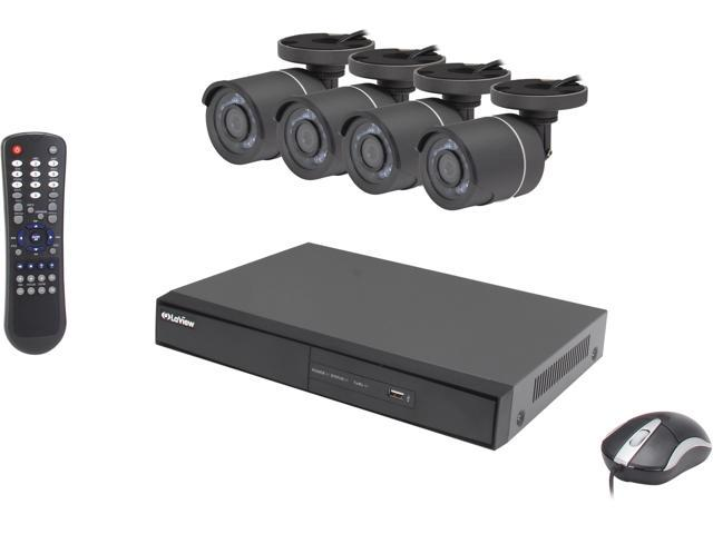 LaView LV- KD1884Y Complete 8 Channel 960H Security DVR System w/ Easy DIY Four 700TVL Infrared Surveillance Cameras (No HDD)