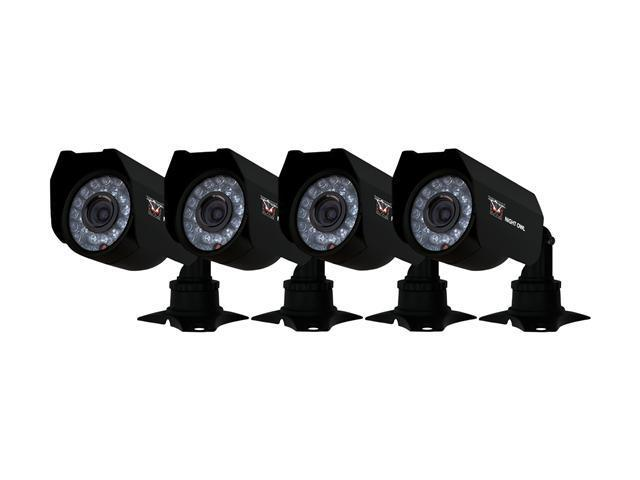 Night Owl 4-pk 400+ TVL Cameras w/ 60ft of Cable per Camera, 45ft Night Vision and 3-Axis Bracket (CAM-4PK-CM245)