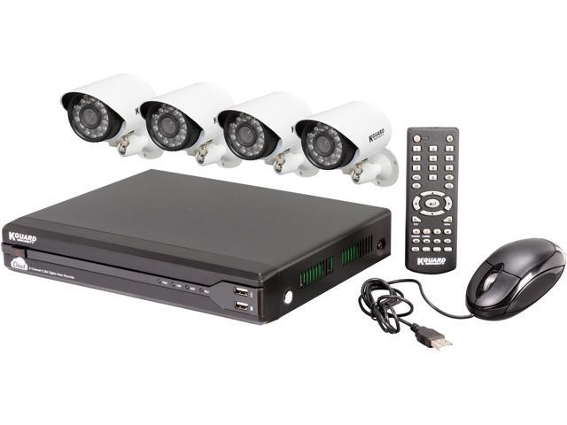 KGuard TC801-4HW227A-500G 8 Channel DVR Touching Cloud Security System & 4 cameras 600 TVL with SmartPhone and Tablet Remote Viewing