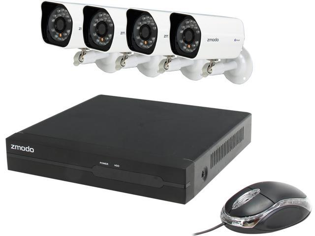 Zmodo ZP-KE1H04-S-1TB 4CH NVR + 4 HD 720P Day/Night Outdoor sPoE IP Camera w/ 1TB HDD Smartphone Scan QR Code Quick Remote Access