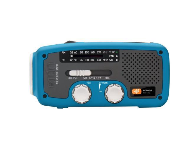 eton Self-Powered AM/FM/NOAA Weather Radio with Flashlight, Solar Power, and Cell Phone Charger (Blue) NFR160WXBL