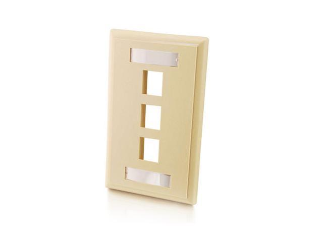 C2G 03712 3-Port Single Gang Multimedia Keystone Wall Plate