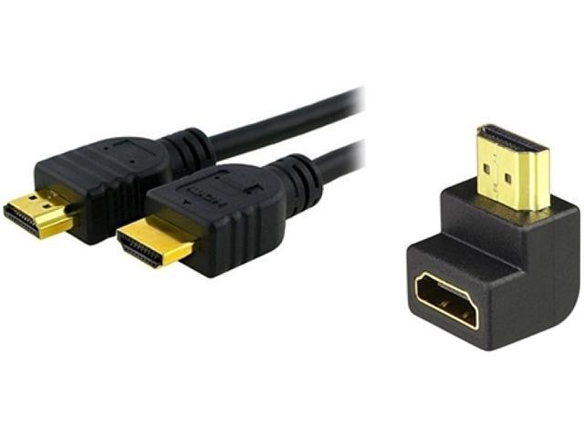 Insten 269019 3 ft. Black High Speed HDMI Cable w/ HDMI F/M Right Angle Adapter M-M