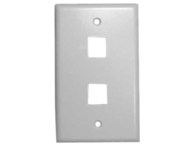 Vanco 820102 2 Ports White Multi-Media Keystone Wall Plates