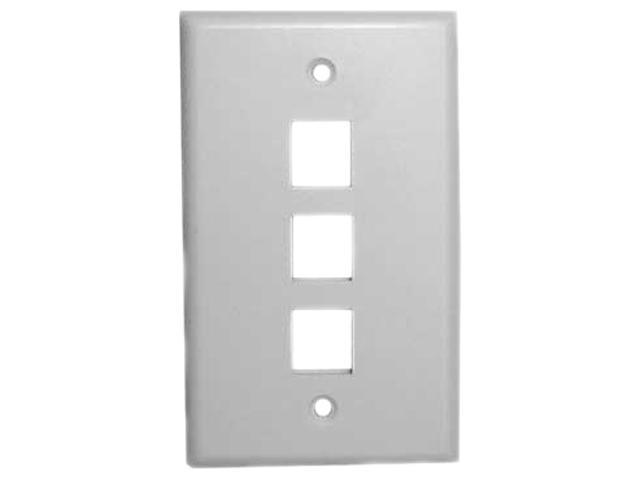 Vanco 820103 3 Ports White Multi-Media Keystone Wall Plates