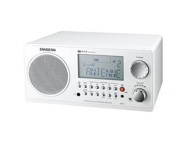Sangean White Digital AM/FM Wooden Cabinet Table-Top Radio WR-2 White