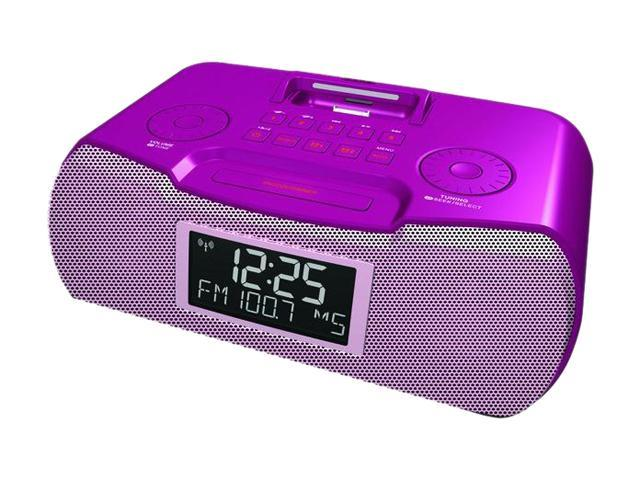 Sangean AM / FM-RBDS Digital Tuning Stereo Atomic Clock Radio with iPod Dock RCR-10 PINK