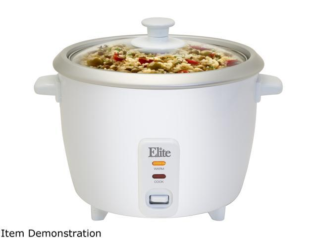 MAXI-MATIC ERC-008ST White Elite Gourmet 16 Cup Rice Cooker with Steam Tray