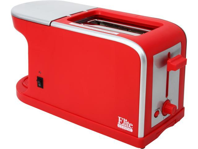 MAXI-MATIC ECT-819R Red Elite Cuisine Breakfast Station - 2 Slice Toaster and Single Serve Coffee Maker
