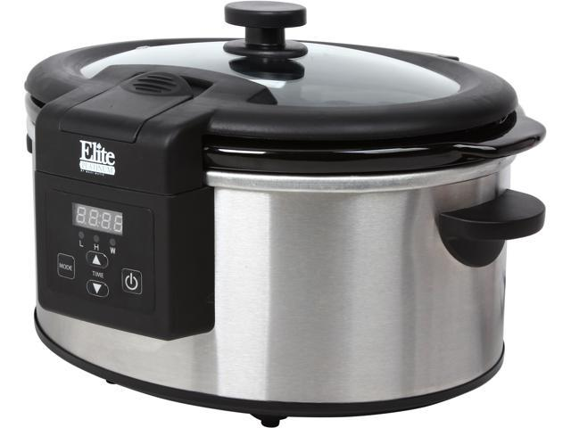 Maxi-Matic Elite Platinum MST-6013D Stainless Steel 6Qt. Programmable Slow Cooker with Digital Touchpad and Locking lid