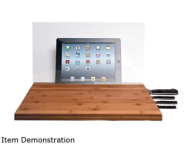 CTA Digital PAD-BCBG Bamboo Cutting Board with Screen Shield for iPad and Knife storage