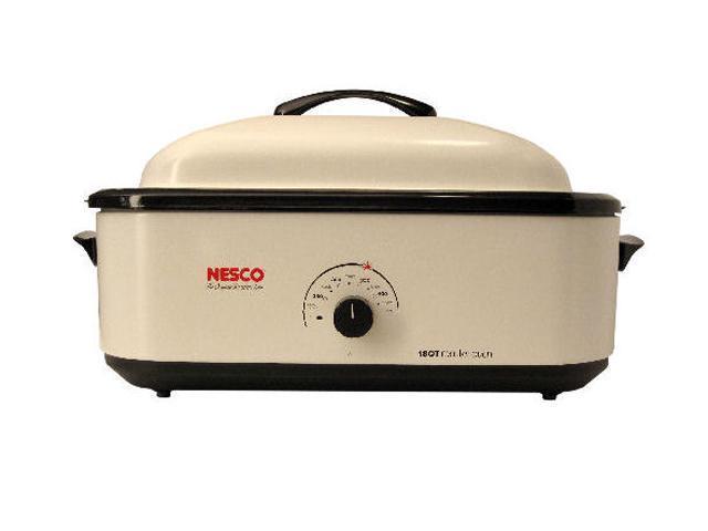 NESCO 4818-14 Ivory 18 Qt. 18 Qt Roaster, Porcelain Cookwell