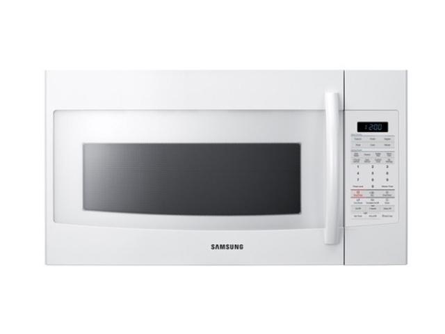 SAMSUNG 1,700 Watts (Microwave) 1100 Watts Output 1.8 cu. ft. Over-the-Range Microwave SMH1816W Sensor Cook White